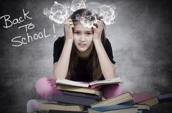 Menina forçada, cansado, oprimida, estudante, aluno imagem de stock royalty free