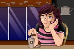 Menina fora do café Foto de Stock