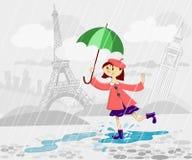 Menina francesa com guarda-chuva Fotos de Stock Royalty Free