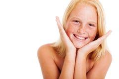 Menina Freckled do preteen fotos de stock royalty free