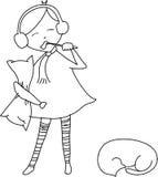 Menina Freehand dos desenhos animados do esboço sonolento Imagens de Stock
