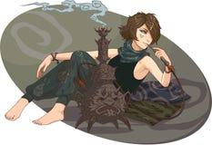 A menina fuma um cachimbo de água Fotos de Stock Royalty Free