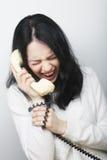 Menina furioso com telefone do vintage Fotos de Stock Royalty Free