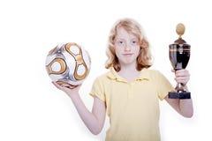 Menina, futebol e copo Imagens de Stock