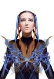 Menina futurista com fluxos de energia azuis e alaranjados Fotos de Stock Royalty Free
