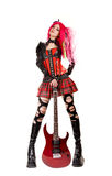 Menina gótico com electro guitarra Imagens de Stock Royalty Free