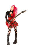 Menina gótico com guitarra fotografia de stock royalty free