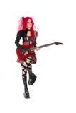 Menina gótico que joga a guitarra Imagens de Stock