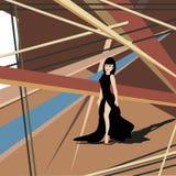 Menina glamoroso entre formas angulares ilustração stock