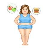 A menina gorda com Hamburger e maçãs Foto de Stock Royalty Free