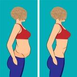 Menina gorda e magro antes e depois ilustração royalty free