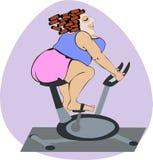 Menina gorda em rolos cosméticos da máscara e do cabelo em uma bicicleta estacionária ilustração do vetor