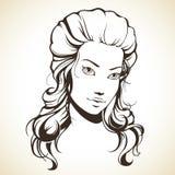 Menina gráfica com cabelo bonito Fotos de Stock