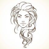 Menina gráfica com cabelo frisado longo Fotografia de Stock Royalty Free