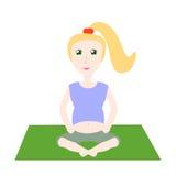 Menina grávida na lição da ioga na ilustração do vetor de posição dos lótus Fotos de Stock Royalty Free