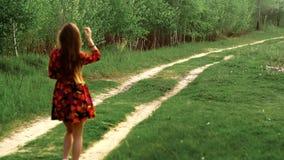 Menina gr?vida em caminhadas do vestido atrav?s da madeira video estoque