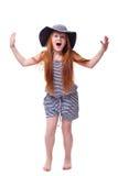 Menina gritando sobre o branco Fotos de Stock