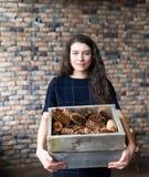 A menina guarda à disposição uma cesta com cones de abeto Foto de Stock