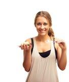 A menina guardara o sabão e uma escova de dentes Imagens de Stock