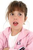 Menina idosa de cinco anos bonita que olha surpreendida Imagens de Stock