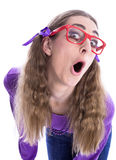 Menina impertinente com vidros Fotografia de Stock Royalty Free