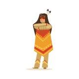 A menina indiana do nativo americano na roupa indiana tradicional que está com braços dobrados vector a ilustração Fotografia de Stock
