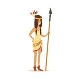 Menina indiana do nativo americano na roupa indiana tradicional que está com ilustração do vetor da lança Foto de Stock