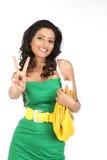 Menina indiana na ação da vitória Fotografia de Stock Royalty Free