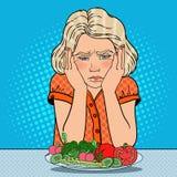 Menina infeliz com a placa de legumes frescos Comer saudável Ilustração retro do pop art ilustração stock