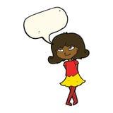 menina inteligente dos desenhos animados com bolha do discurso ilustração do vetor