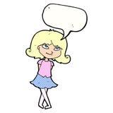 menina inteligente dos desenhos animados com bolha do discurso ilustração royalty free