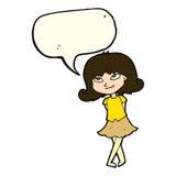 menina inteligente dos desenhos animados com bolha do discurso ilustração stock