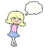 menina inteligente dos desenhos animados com bolha do pensamento ilustração stock