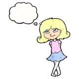 menina inteligente dos desenhos animados com bolha do pensamento ilustração royalty free