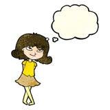 menina inteligente dos desenhos animados com bolha do pensamento ilustração do vetor
