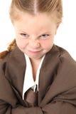 Menina irritada no terno de Bagg Imagens de Stock Royalty Free