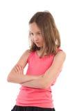 Menina irritada que olha para baixo Fotografia de Stock Royalty Free