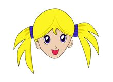 Menina isolada do anime do manga ilustração do vetor