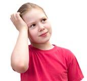 A menina isolada no branco. Fotos de Stock