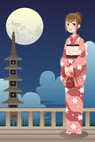 Menina japonesa do quimono Fotografia de Stock