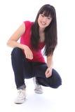Menina japonesa feliz bonita do estudante do adolescente fotografia de stock royalty free