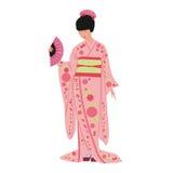 Menina japonesa na ilustração do quimono-vetor no fundo branco Fotografia de Stock Royalty Free