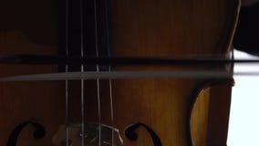 A menina joga o violoncelo Fim acima video estoque