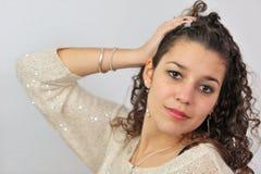 Menina Latin vestida acima fotografia de stock