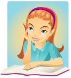 A menina leu o livro ilustração do vetor