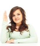 A menina levantou sua mão Fotografia de Stock