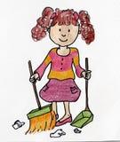 A menina limpa a ilustração da casa Fotos de Stock Royalty Free
