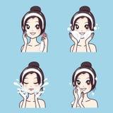 A menina limpa o tratamento facial da acne da cara da pele ilustração royalty free