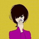 A menina limpa sua cara com a loção cosmética, suprimindo da composição Ilustração conservada em estoque do vetor Imagens de Stock