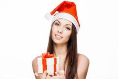 Menina lindo de Santa Imagens de Stock